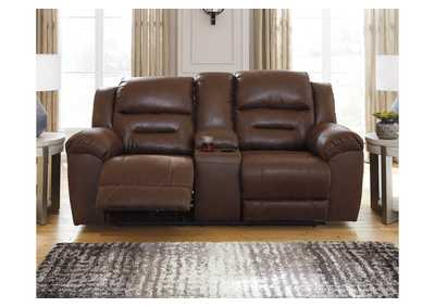 Stoneland Brown Power Reclining Loveseat with Console