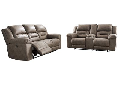 Stoneland Gray Power Reclining Sofa and Loveseat