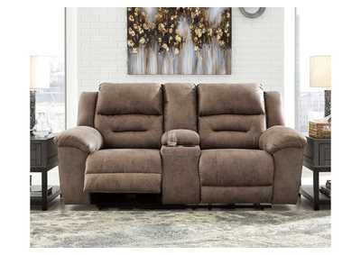 Stoneland Gray Power Reclining Loveseat with Console
