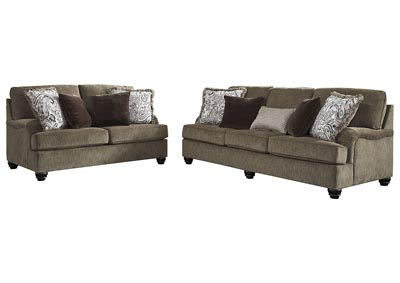 Braemar Brown Sofa & Loveseat w/8 Pillows