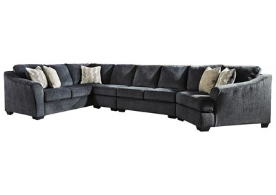 Eltmann Slate 4 Piece Sectional w/LAF Sofa & Corner Wedge