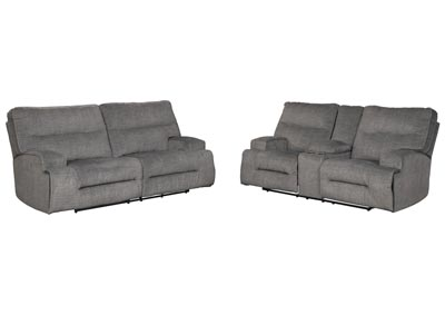 Coombs Charcoal Reclining Sofa and Loveseat
