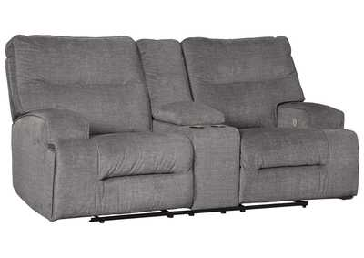 Coombs Charcoal Power Reclining Loveseat with Console