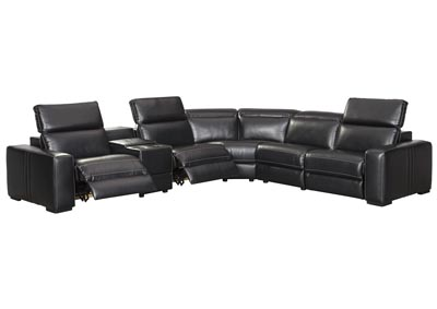 Mantonya Midnight Power Reclining 5 Piece Sectional with Console