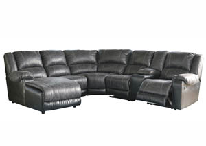 Nantahala Slate Left Facing Corner Chaise Sectional w/Storage Console