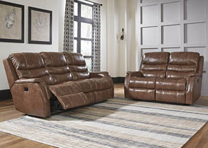 Metcalf Nutmeg Power Reclining Sofa and Loveseat w/Adjustable Headrest