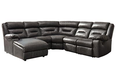 Coahoma Dark Gray PU Leather 5 Piece LAF Chaise Sectional