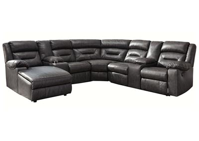 Coahoma Dark Gray LAF Chaise Sectional w/Consoles & Power Recliner