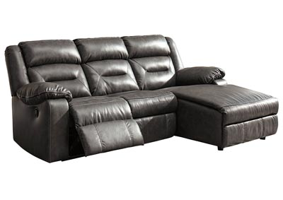 Coahoma Dark Gray 3 Piece RAF Chaise Sectional w/Power Recliner