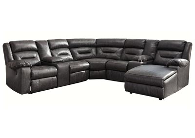 Coahoma Dark Gray RAF Chaise Sectional w/Consoles & Power Recliner
