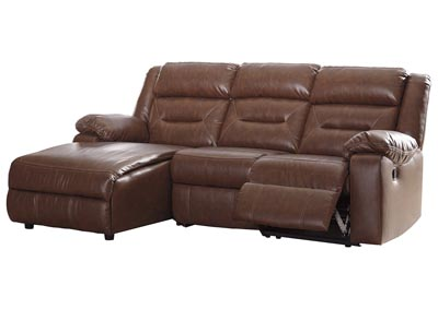 Coahoma Chestnut PU Leather 3 Piece LAF Chaise Sectional
