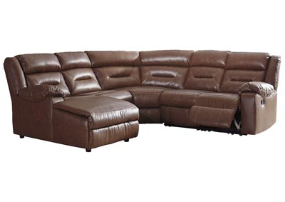 Coahoma Chestnut PU Leather 5 Piece LAF Chaise Sectional