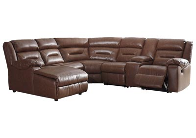 Coahoma Chestnut PU Leather 6 Piece LAF Chaise Sectional w/Console