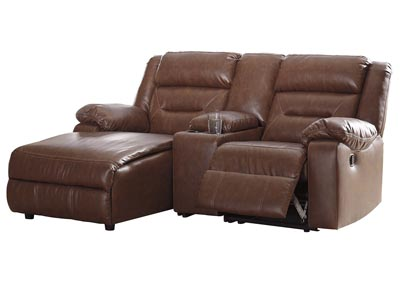 Coahoma Chestnut PU Leather 3 Piece LAF Chaise Sectional w/Console