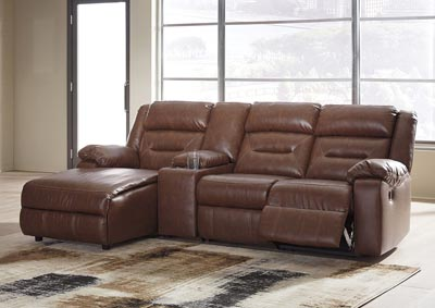 Coahoma Chestnut PU Leather 4 Piece LAF Chaise Sectional w/Console