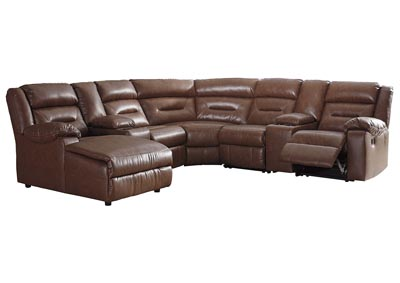 Coahoma Chestnut PU Leather 7 Piece LAF Chaise Sectional w/Consoles