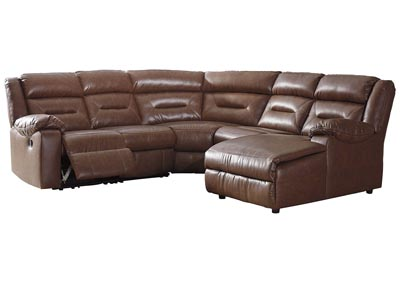 Coahoma Chestnut PU Leather 5 Piece RAF Chaise Sectional