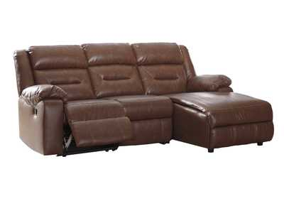 Coahoma Chestnut PU Leather 3 Piece RAF Chaise Sectional