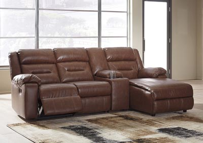 Coahoma Chestnut PU Leather 4 Piece RAF Chaise Sectional w/Console