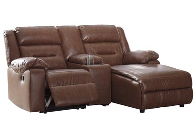 Coahoma Chestnut PU Leather 3 Piece RAF Chaise Sectional w/Console