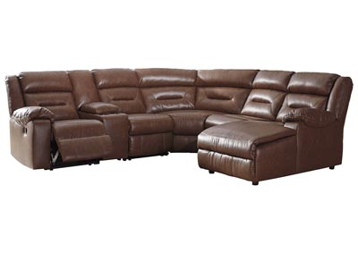 Coahoma Chestnut PU Leather 6 Piece RAF Chaise Sectional w/Console