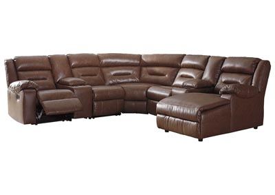 Coahoma Chestnut PU Leather 7 Piece RAF Chaise Sectional w/Consoles