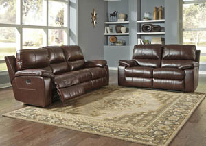 Transister Coffee Power Reclining Sofa and Loveseat w/Adjustable Headrest