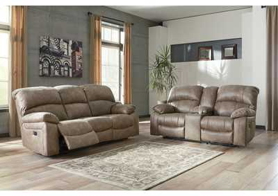 Dunwell Driftwood Power Reclining Sofa and Loveseat w/Adjustable Headrest