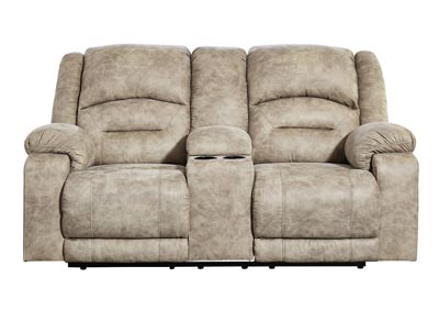McGinty Graystone Power Reclining Loveseat w/Adjustable Headrest & Console