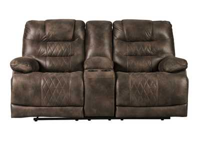 Welsford Walnut Power Reclining Loveseat w/Console & Adjustable Headrest