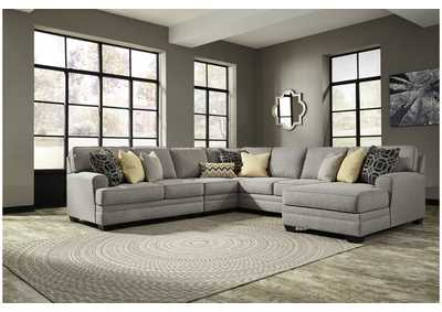 Cresson Pewter 5 Piece RAF Chaise Sectional
