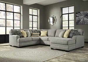 Cresson Pewter 4 Piece RAF Chaise Sectional