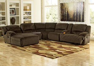 Toletta Chocolate Left Facing Chaise End Reclining Sectional w/Storage Console