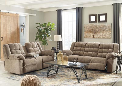 Workhorse Cocoa Reclining Sofa and Loveseat w/Console