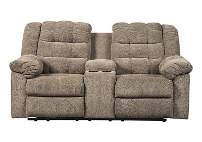 Workhorse Cocoa Double Reclining Loveseat w/Console