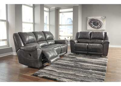 Persiphone Charcoal Reclining Sofa and Loveseat