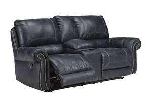 Milhaven Navy Double Reclining Loveseat w/Console