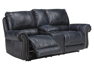 Milhaven Navy Double Power Reclining Loveseat w/Console