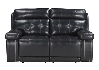 Graford Navy Power Reclining Loveseat W Adjustable Headrest