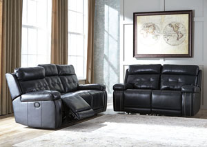 Graford Navy Power Reclining Sofa & Loveseat
