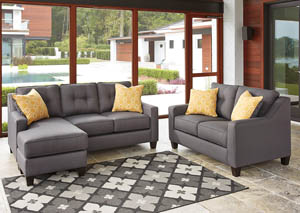 Aldie Nuvella Gray Sofa Chaise and Loveseat