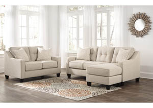 Aldie Nuvella Sand Sofa Chaise and Loveseat