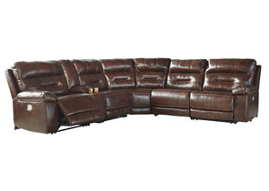 Bancker Sienna Left Facing Zero Wall Power Reclining Sectional w/Storage Console