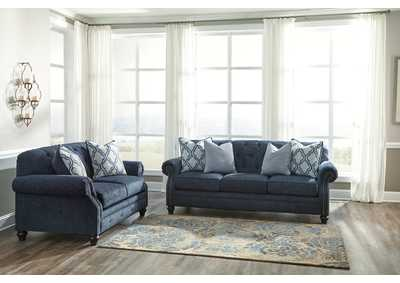 LaVernia Navy Sofa and Loveseat