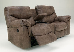 Alzena Gunsmoke Double Reclining Loveseat w/Console