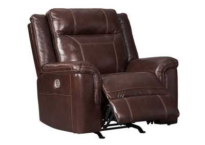 Wyline Coffee Power Recliner w/Adjustable Headrest