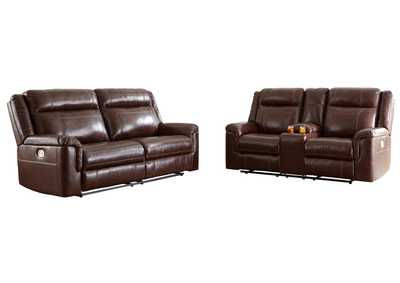 Wyline Coffee Power Reclining Sofa and Loveseat with ADJ Headrest