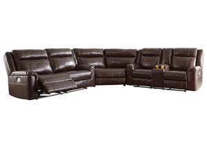 Wyline Coffee Power Reclining Sofa Sectional w/Adjustable Headrest