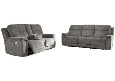 Mouttrie Smoke Power Reclining Sofa and Loveseat w/Console