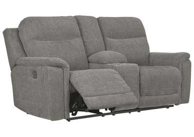 Mouttrie Smoke Power Reclining Loveseat with Console